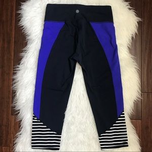 Athleta Navy Purple Stripe Bottom Crop Leggings